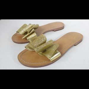 Kate spade Gold Bow sandals Size 8 1/2 M